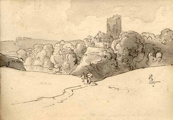 Water colour of Blackwater Castle by Henry Brocas